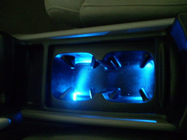 DIY Ambient lighting cup holder under the dash and the change