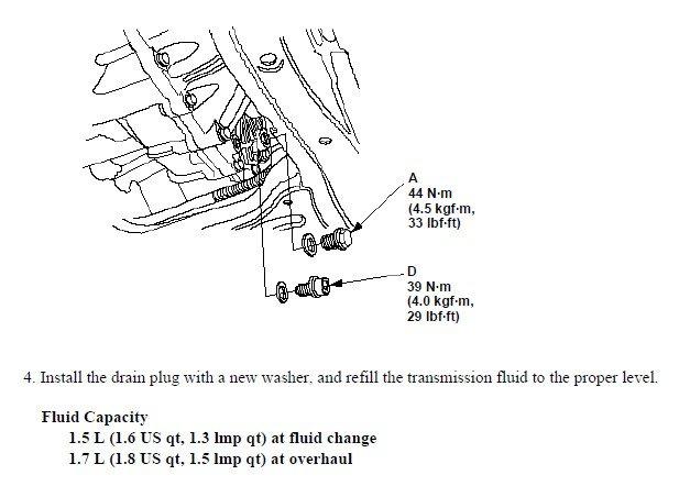 honda manual transmission fluid change