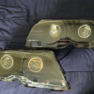 98-05 BMW 3series  quad fx-r projectors housing and shrouds painted black